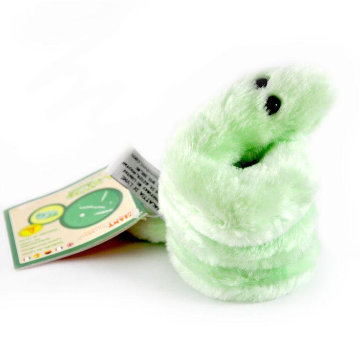 Borelioza jest pluszakiem kolorem, kształtem i wyglądem przypominającym żywą bakterię wywołującą tę chorobę. Jest od niej jednak znacznie większa – mierzy 11 cm.