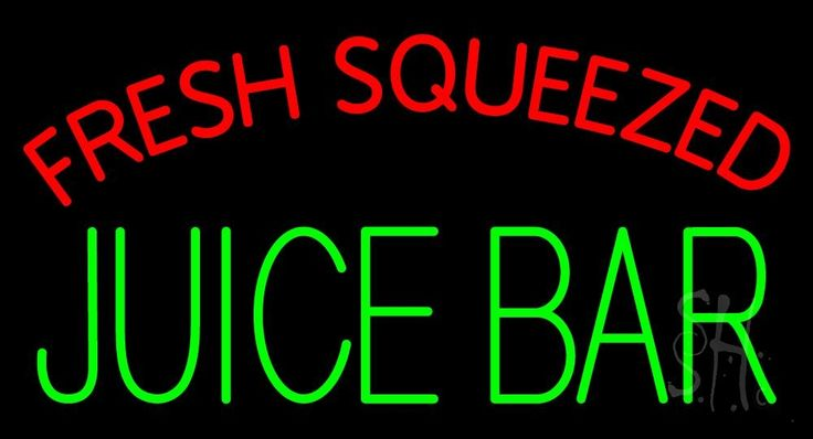 Fresh Squeezed Juice Bar Neon Sign 20 Tall x 37 Wide x 3 Deep, is 100% Handcrafted with Real Glass Tube Neon Sign. !!! Made in USA !!!  Colors on the sign are Red and Green. Fresh Squeezed Juice Bar Neon Sign is high impact, eye catching, real glass tube neon sign. This characteristic glow can attract customers like nothing else, virtually burning your identity into the minds of potential and future customers.