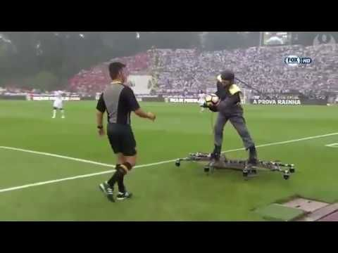 ball delivered by man on spider like drone(cup final)