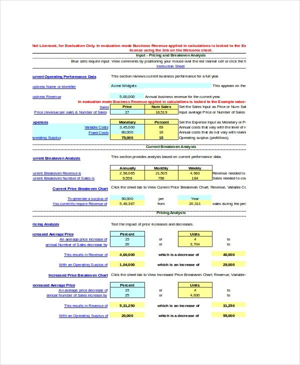 Break Even Analysis Templates 11 Free Printable Excel Word