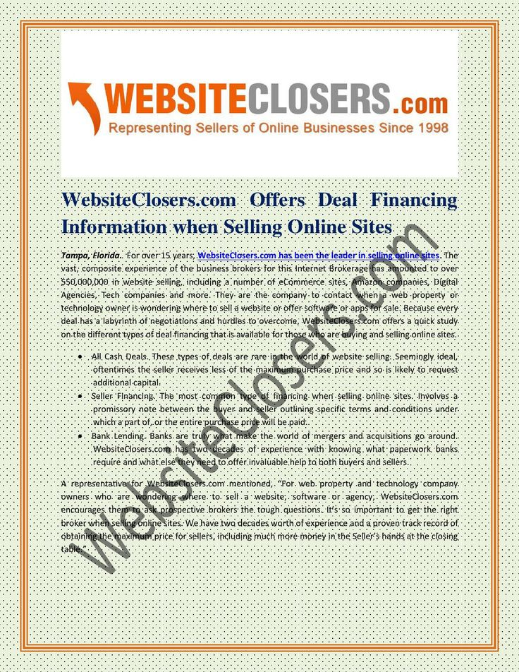 #WebsiteClosers.com Offers Deal Financing Information when #Selling_Online_Sites
