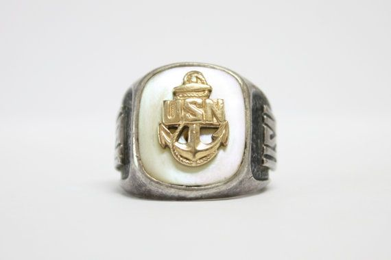 Sterling US Navy Ring 10k gf & mop DB Sterling Co. Mens Ring