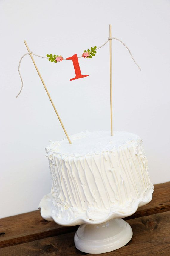 First Birthday Cake Banner One Peach Topp