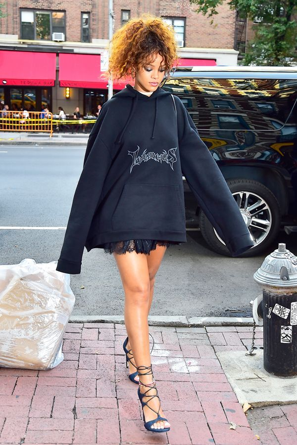 30 Outfits That Prove Rihanna's DGAF Style #refinery29  http://www.refinery29.uk/2016/03/106408/rihanna-street-style-photos#slide-16  The Vetements hoodie that started it all......