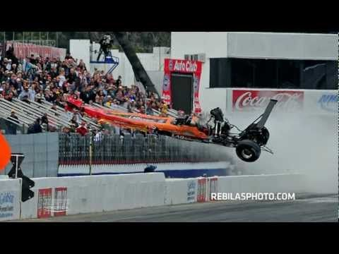 NHRA Top Alchohol Dragsters 2012 Pomona Austin massive flip over wall
