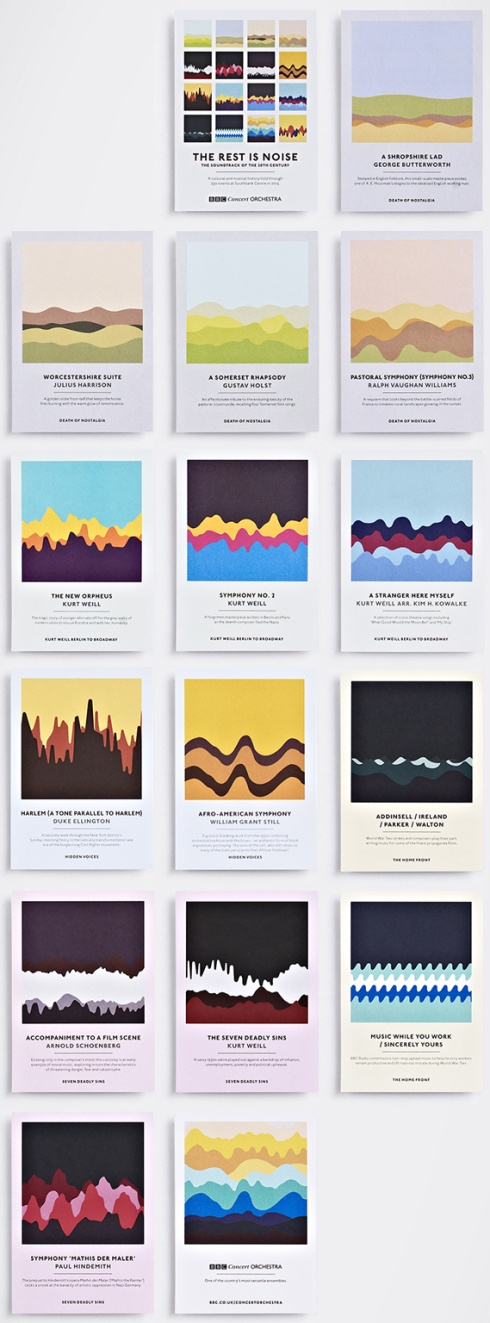 Soundwaves are the inspiration behind Studio Output's set of stunning graphic postcards for London's Southbank Centre. See the gorgeous collection here: http://morningedit.com/2013/02/15/studio-outputs-soundwave-concert-postcards/
