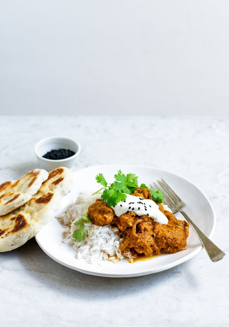 sarah's chicken curry and yoghurt naan