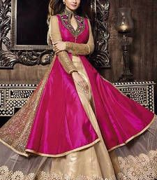 Pink embroidered bhagalpuri silk semi stitched salwar with dupatta collar-neck-design www.mirraw.com