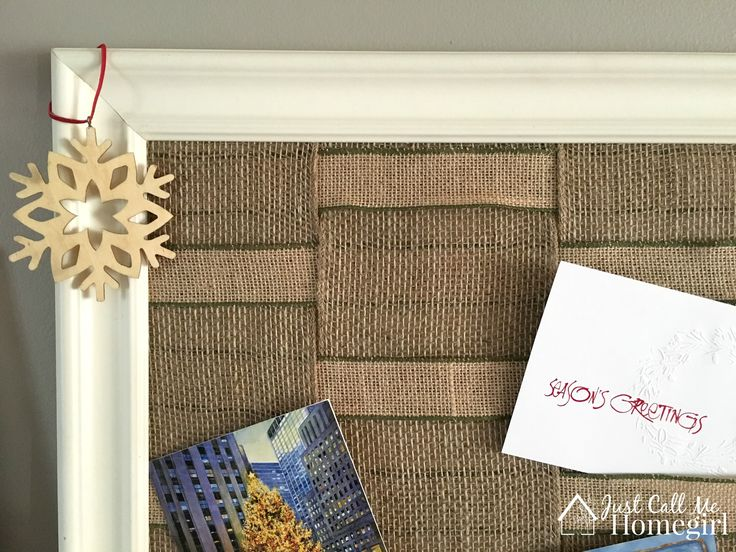 How to make an easy burlap card display for the holidays