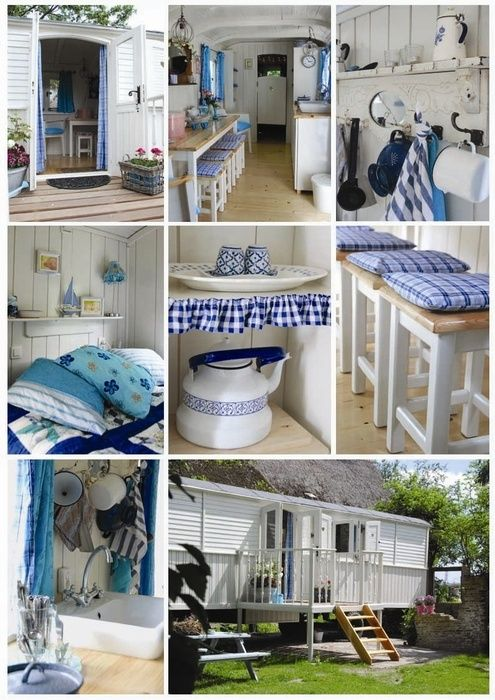 blue and white caravan decor