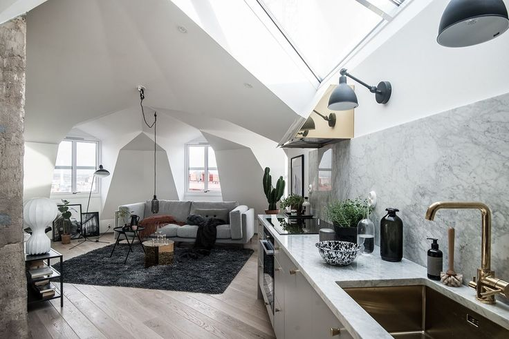 Attic living room wit open kitchen and skylights