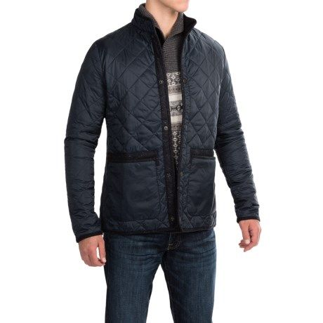 Barbour Liddesdale Quilted Jacket - Insulated, Tweed Trim (For Men) in Navy