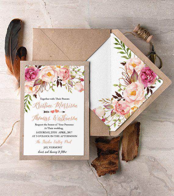 Rustico pizzo inviti (20), Peach pizzo inviti di matrimonio, inviti di nozze Boho, Watercolor Wedding invita, inviti di piume