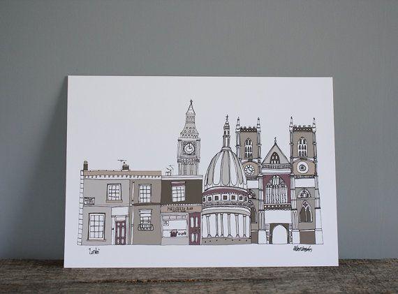 London Skyline Print - Illustration - A4