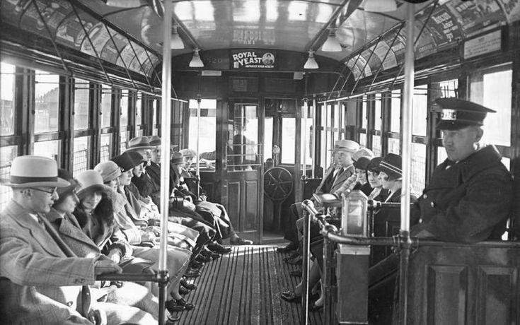 Toronto streetcar interior 1928