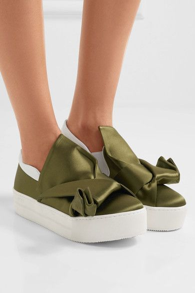 No. 21 - Knotted Satin Slip-on Sneakers - Army green - IT37.5