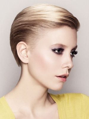 Ombre crop haircut with long slicked back bangs hairstyle, maybe I'll cut my hair all short for wedding and this is my hairdo? Hahahah.