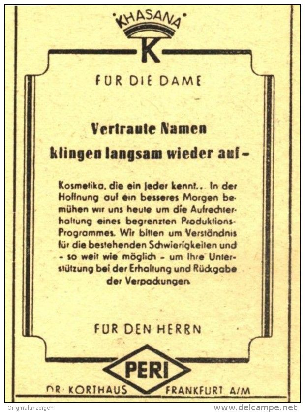 Original-Werbung/ Anzeige 1948 - PERI / KHASANA KOSMETIK / DR.KORTHAUS FRANKFURT- ca. 45 x 65 mm