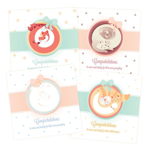 + Congratulations greeting cards: a baby is born + on Behance
