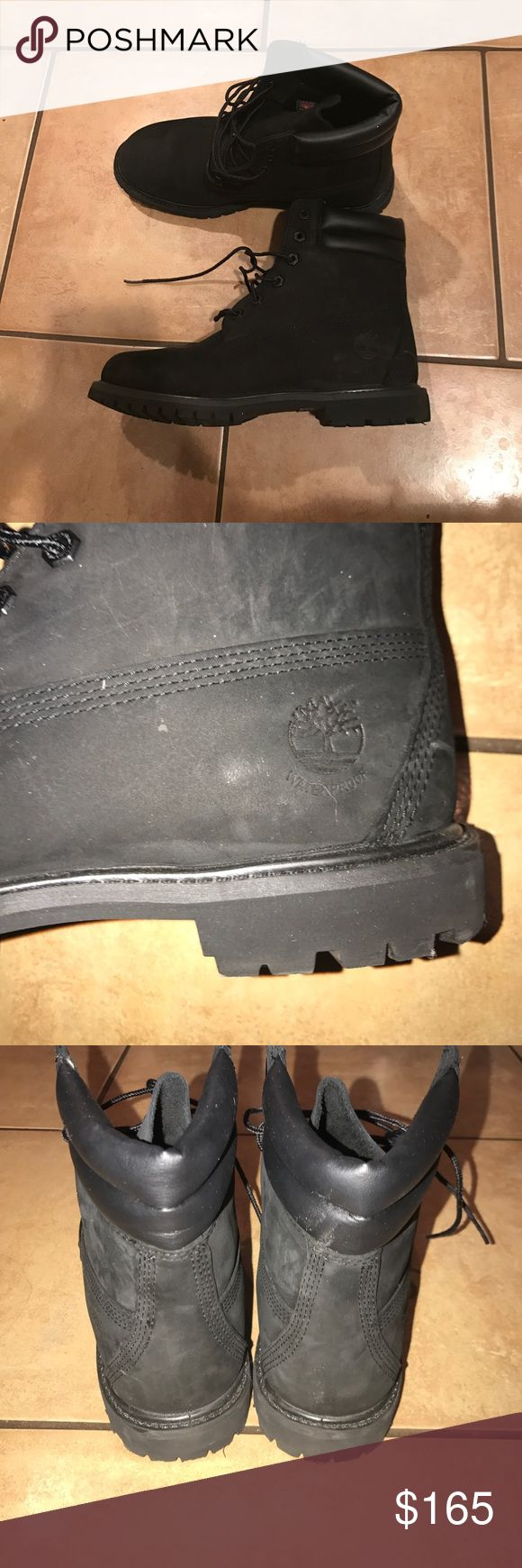 WORN ONCE BLACK TIMBERLAND BOOTS Size 9.5 WOMENS  worn one time soles still clean all black boots Timberland Shoes