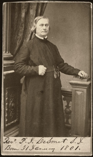 Father Pierre DeSmet, Society of Jesus. (1864) Father DeSmet was born in Belgium in 1801. He completed the theological course at Florissant, Mo, and was ordained in 1828. He moved to St. Louis, which was to become his home base. He was the founder of the Rocky Mountains missions and became a famous missionary of the northwest United States. Missouri History Museum