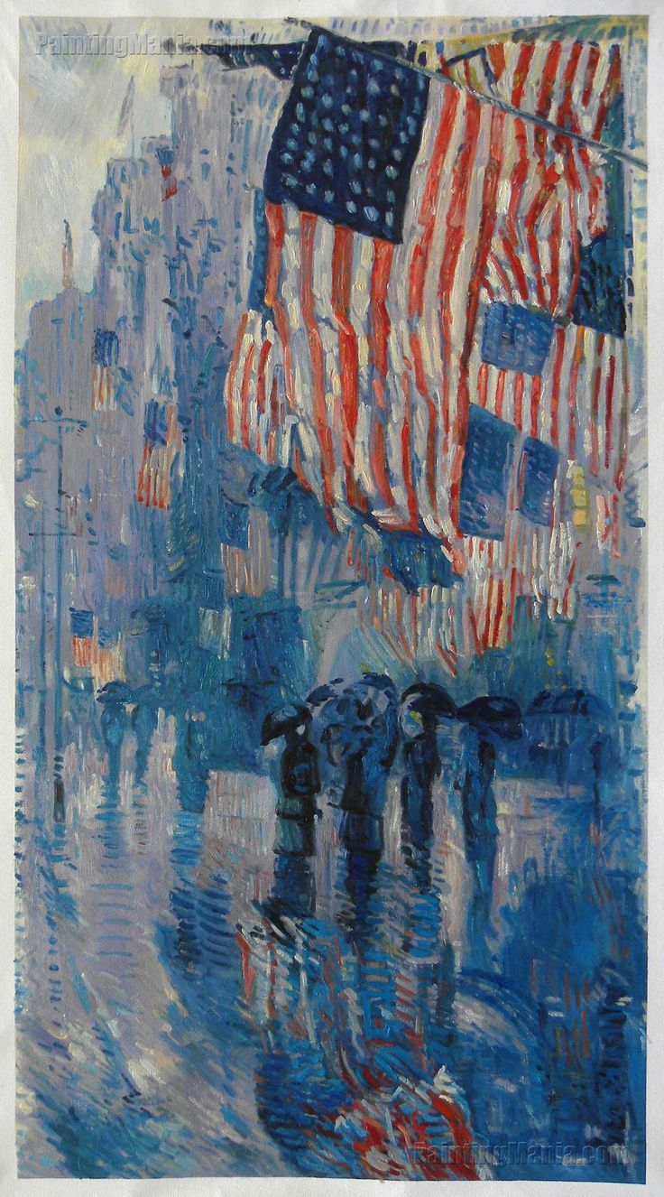 Details about hassam garden painting ceramic bathroom tile murals 2 - The Avenue In The Rain By Frederick Childe Hassam