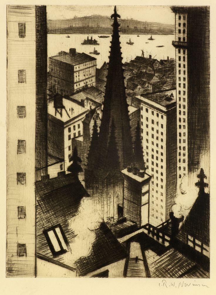 CRW Nevinson. The Temples of New York, 1919 / Drypoint / 19.7 x 15.5 cm. https://tfeanda.files.wordpress.com/2014/09/temples-of-ny.jpg