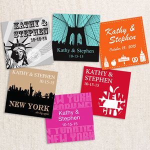 Why not personalize your favors, decorate items, take-away gifts and any other wedding or party accessory with this New York Square Personalized Labels or Hang Tags? A perfect complement to our Mini Travel Suitcase Favors.