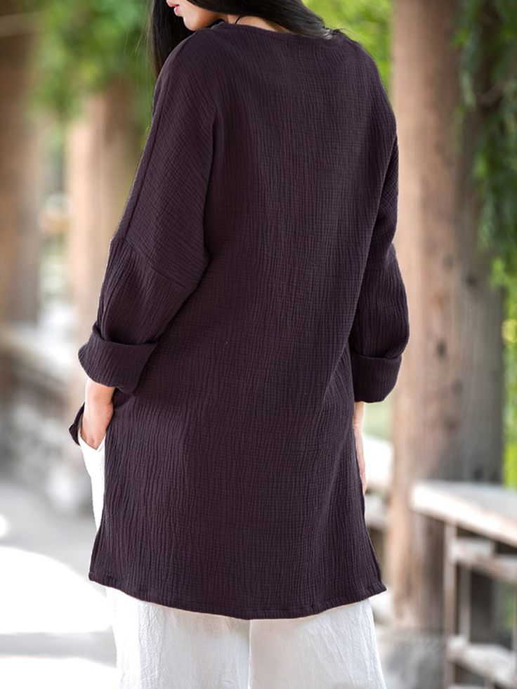 Gracila Women Chinese Style Long Sleeve Pure Color O-Neck Irregular Shirts