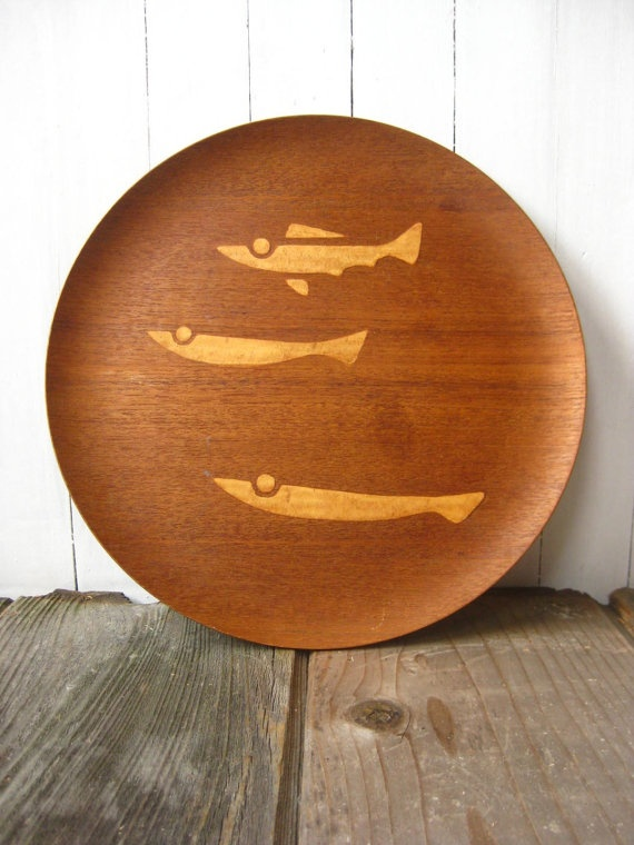 Vintage Teak DANISH Modern Wood Tray NCC Charger Plate by OBJX, $83.00