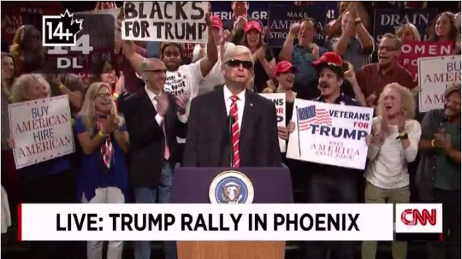 awesome Alec Baldwin lampoons Donald Trump's Phoenix rally on SNL Weekend Update - National Check more at http://sherwoodparkweather.com/alec-baldwin-lampoons-donald-trumps-phoenix-rally-on-snl-weekend-update-national/