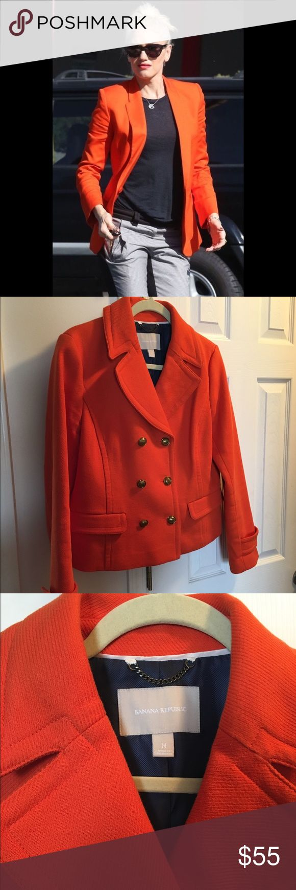 Banana Republic Peacoat Orange color. NWOT. Size medium. Banana Republic Jackets & Coats Pea Coats