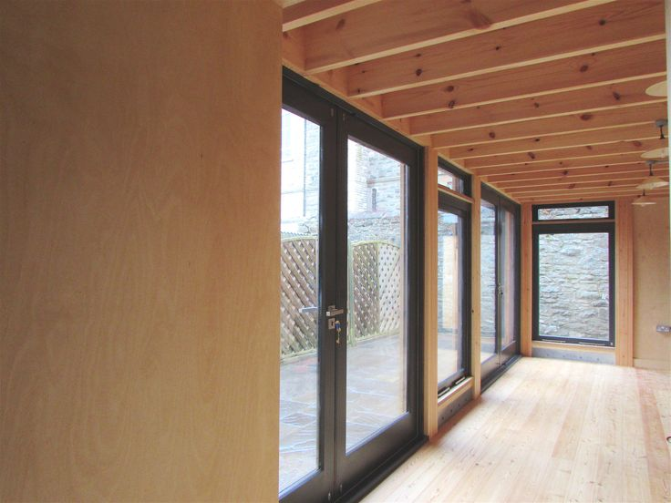 Glazed Kitchen Extension, Exposed Birch Ply, Redwood and Larch Wood Modern Timber Extension Wales