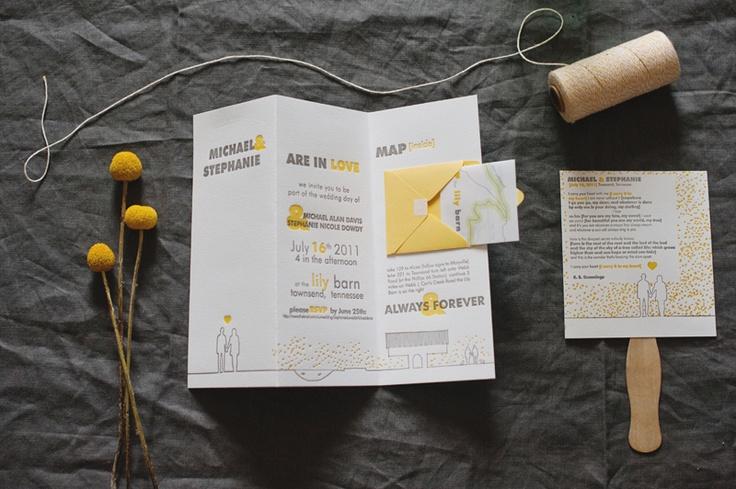 yellow & gray wedding invitation by fourth year studios
