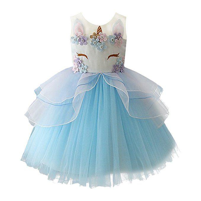 613400c4b Vestido con falda de tul para celebración de unicornio | cumpleaños ...