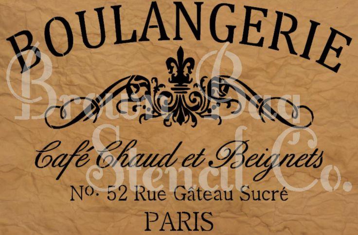 French Stencil - Boulangerie  - 12x20 7.5 mil mylar by BrownBagStencilCo on Etsy https://www.etsy.com/listing/208221917/french-stencil-boulangerie-12x20-75-mil