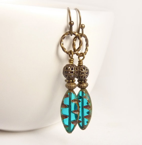 Teal Blue Earrings, Glass Ovals, Antiqued Bronze Filigree, Wire Wrapped