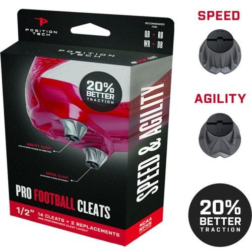 Position Tech Speed & Agility Football Cleat System -                     Price: $  17.95             View Available Sizes & Colors (Prices May Vary)        Buy It Now      These replacement cleats are suited for RB, QB, WR, and DB to precise cutting and quick acceleration. Compatible with all major shoe brands (except Adidas). NCAA and...