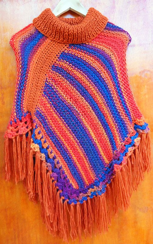Poncho colorido tejido a palillos (Poncho dos agujas) / #knit #poncho #knitted #poncho #needles #wear #colour by Suhyza