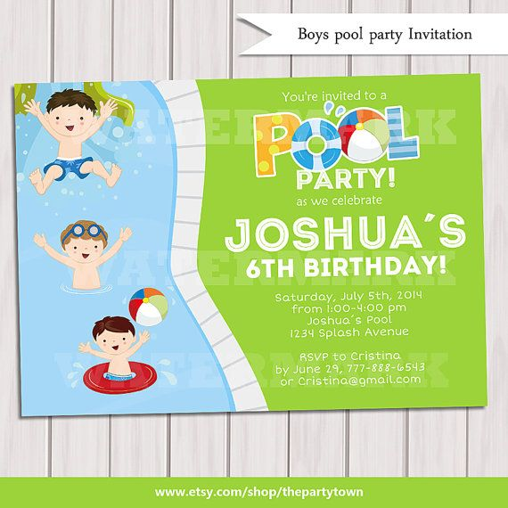 Boy Pool Party Invitation Kids Pool Party by ThePartyTown on Etsy