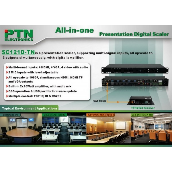 12-Input Full-HD Presentation switcher/scaler with Audio amplifier