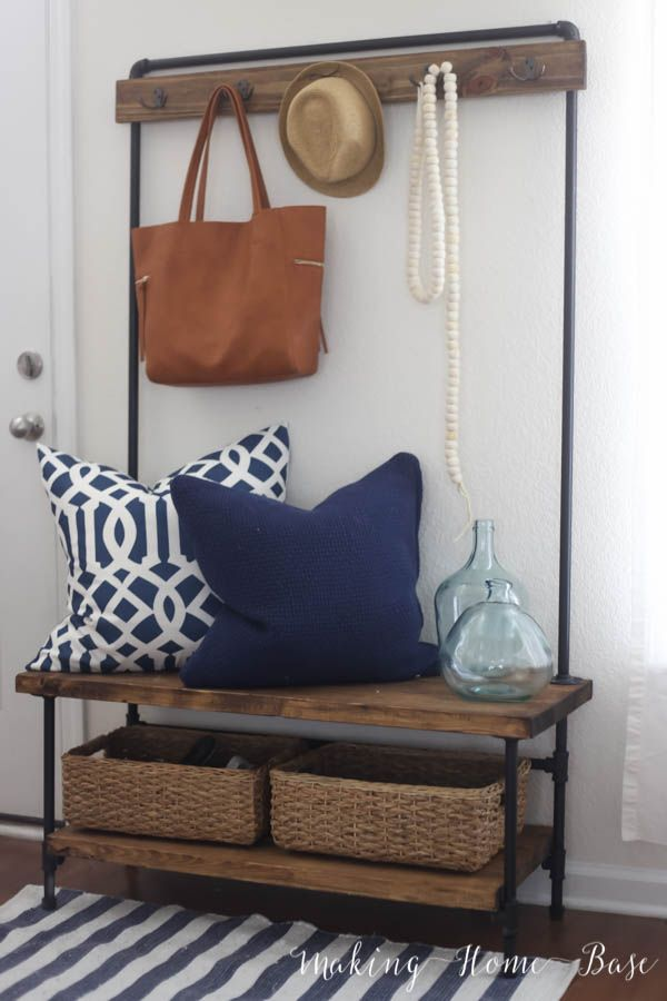 Wood and Pipe Entryway Stand