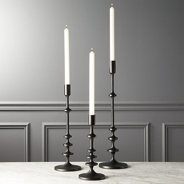 Allis Black Taper Candle Holders | CB2