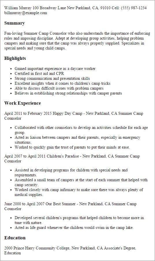 Les 25 meilleures idées de la catégorie Camp counselor job - counseling resume examples