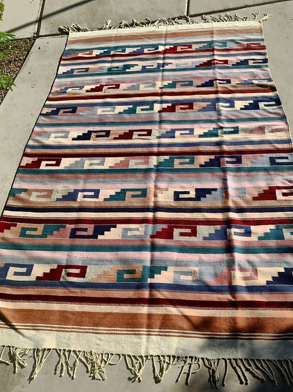 Vintage Zapotec Rug Vintage Mexican Rug Wool Woven Rug Red Rug