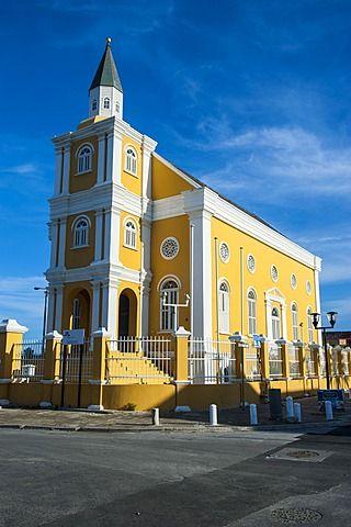 Iglesia en Willemstad, capital de Curazao, Islas de ABC, Netherlands Antilles, el Caribe, América Central