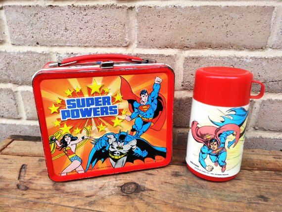 Super Power, Red Metal Lunchbox with Thermos, 1983, Superman, Wonder Woman, Batman Lunch Box Collectible Vintage IT390 BD1 DeAnnasAttic by DeAnnasAttic on Etsy https://www.etsy.com/listing/130318797/super-power-red-metal-lunchbox-with