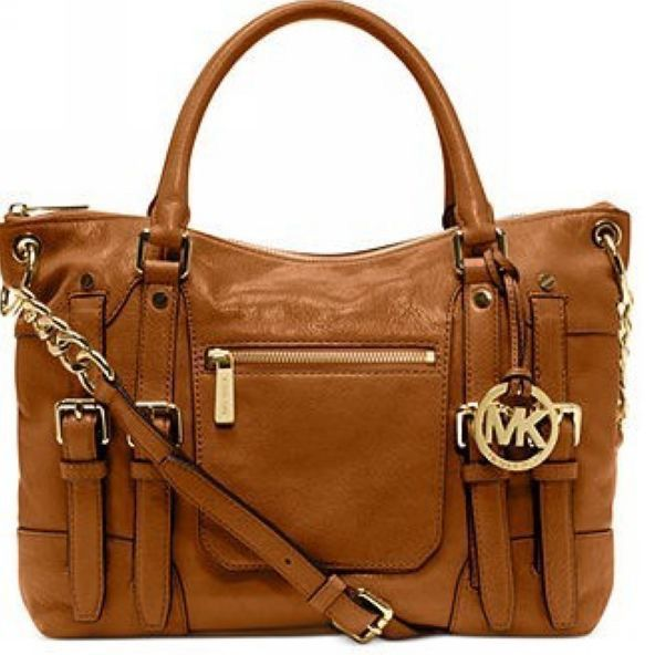 [$78.99]Michael Kors Leigh Large Brown Satchels