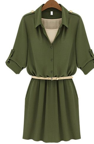 2014 Women's Turn Collar Belt Decorated Solid Stylish Chiffon Summer Coat Dress - Dresses Read More: http://www.fashionant.com/2014-women-s-turn-collar-belt-decorated-solid-stylish-chiffon-summer-coat-dress.html