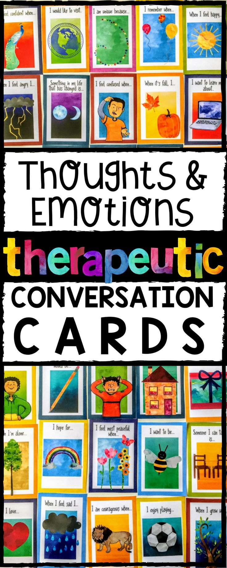 Thoughts and Emotions Therapeutic conversation cards.  Open-ended prompts that build rapport and connection. Great counseling assessment tool for children and teens.